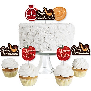 Rosh Hashanah - Dessert Cupcake Toppers - Jewish New Year Clear Treat Picks - Set of 24