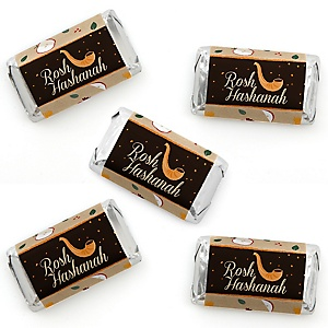 Rosh Hashanah - Mini Candy Bar Wrapper Stickers - Jewish New Year Small Favors - 40 Count