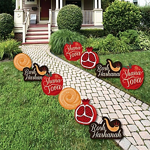 Rosh Hashanah - Apple, Pomegranate, Challah & Shofar Lawn Decorations - Outdoor Jewish New Year Yard Decorations - 10 Piece