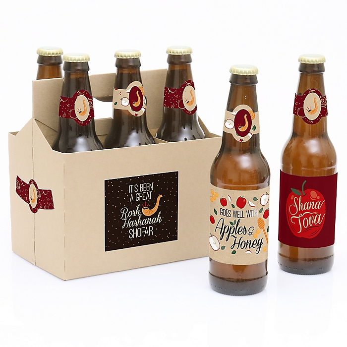 Rosh Hashanah - Decorations for Women and Men - 6 Jewish New Year Beer Bottle Label Stickers and 1 Carrier
