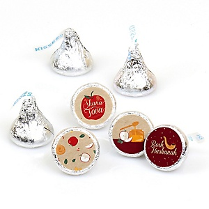 Rosh Hashanah - Round Candy Labels Jewish New Year Favors - Fits Hershey Kisses - 108 ct