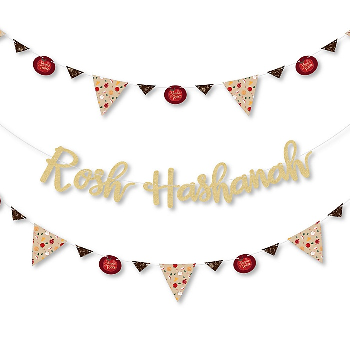 Rosh Hashanah - Jewish New Year Letter Banner Decoration - 36 Banner Cutouts and No-Mess Real Gold Glitter Rosh Hashanah Banner Letters