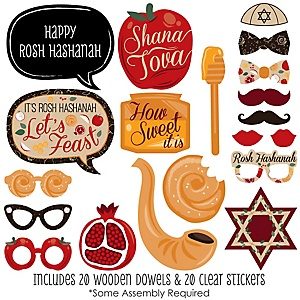 Rosh Hashanah - 20 Piece Jewish New Year Photo Booth Props Kit