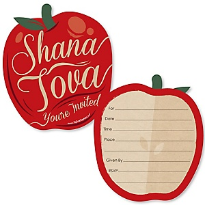 Rosh Hashanah - Shaped Fill-In Invitations - Jewish New Year Invitation Cards with Envelopes - Set of 12