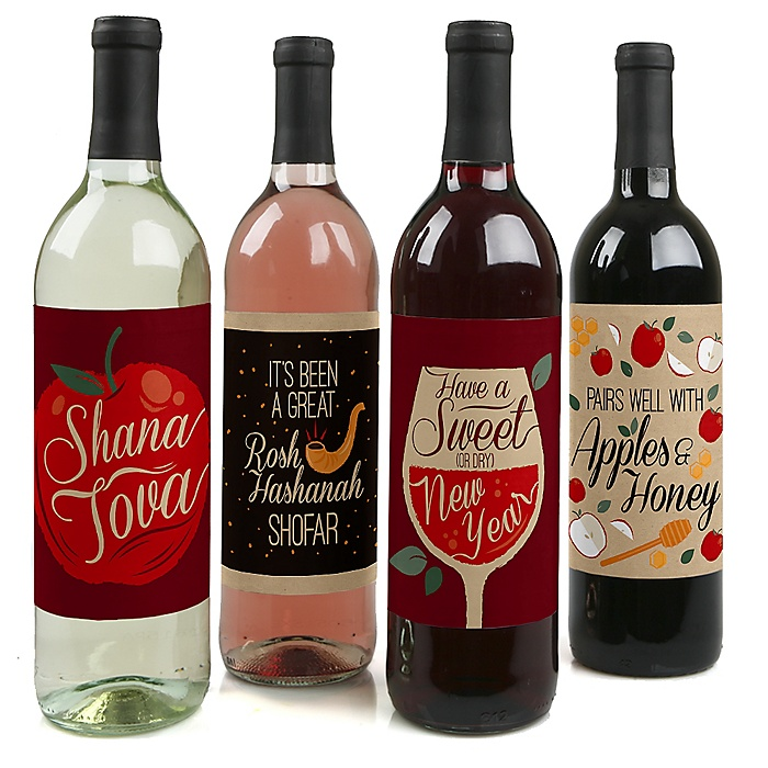 Rosh Hashanah - Jewish New Year Decorations for Women and Men - Wine Bottle Label Stickers - Set of 4