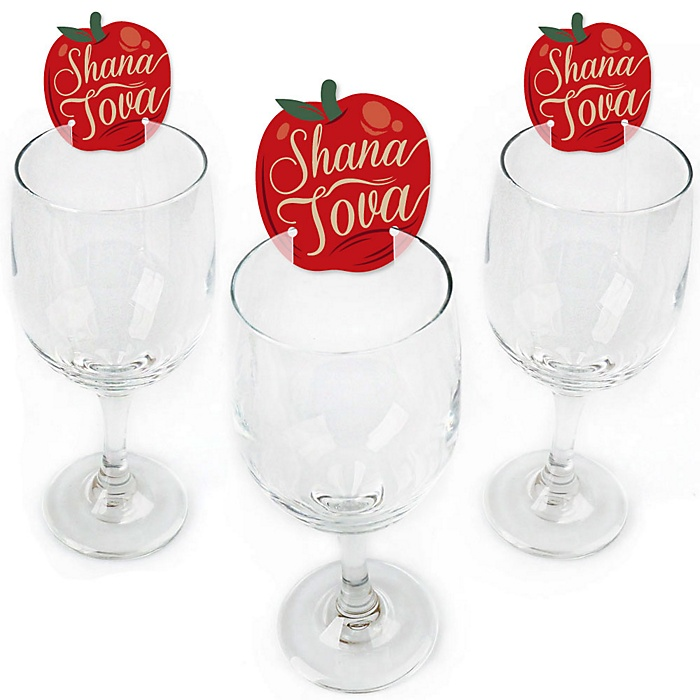 Rosh Hashanah - Shaped Jewish New Year Wine Glass Markers - Set of 24