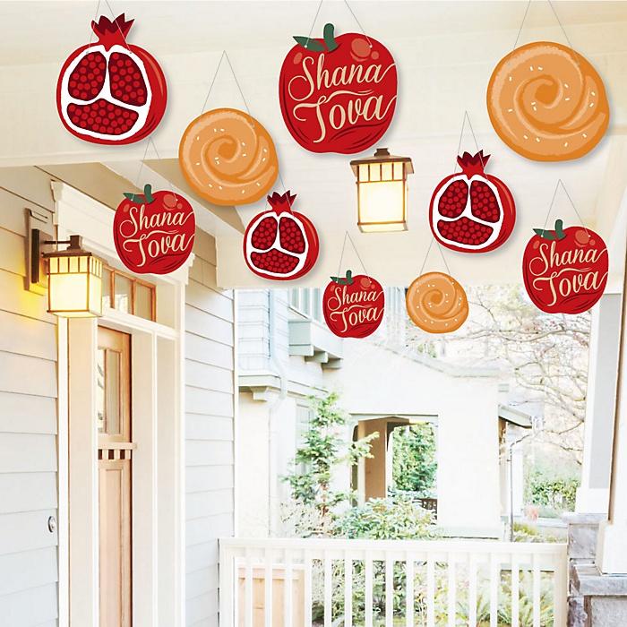 Hanging Rosh Hashanah - Outdoor Jewish New Year Hanging Porch & Tree Yard Decorations - 10 Pieces
