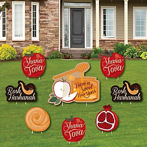 Rosh Hashanah - Yard Sign & Outdoor Lawn Decorations - Jewish New Year Yard Signs - Set of 8