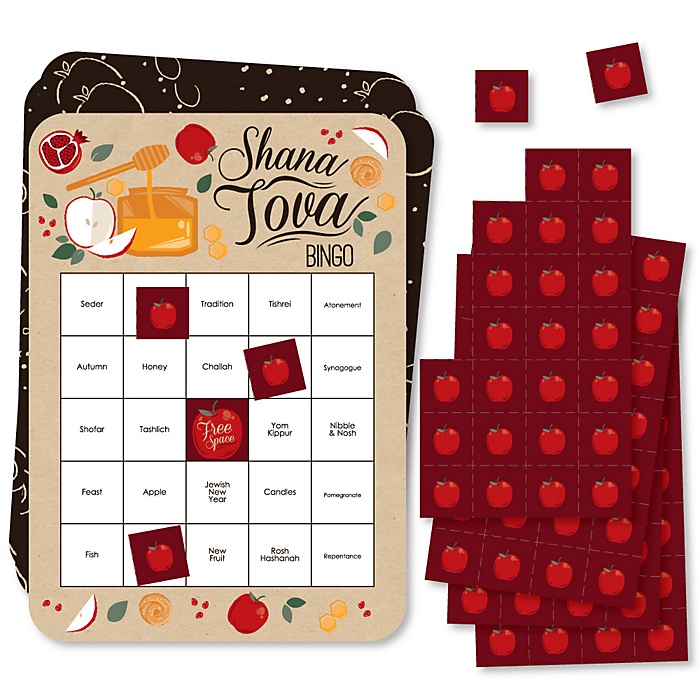 Rosh Hashanah - Bingo Cards and Markers - Jewish New Year Bingo Game - Set of 18