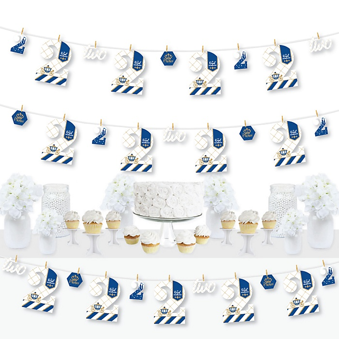 2nd Birthday Royal Prince Charming - Second Birthday Party DIY Decorations - Clothespin Garland Banner - 44 Pieces