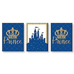 Royal Prince Charming - Baby Boy Nursery Wall Art & Kids Room Decor - 7.5 x 10 inches - Set of 3 Prints