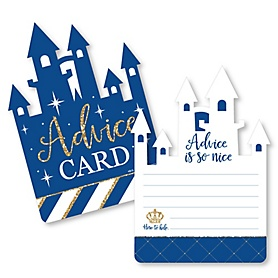Royal Prince Charming - Castle Wish Card Baby Shower Activities - Shaped Advice Cards Game - Set of 20