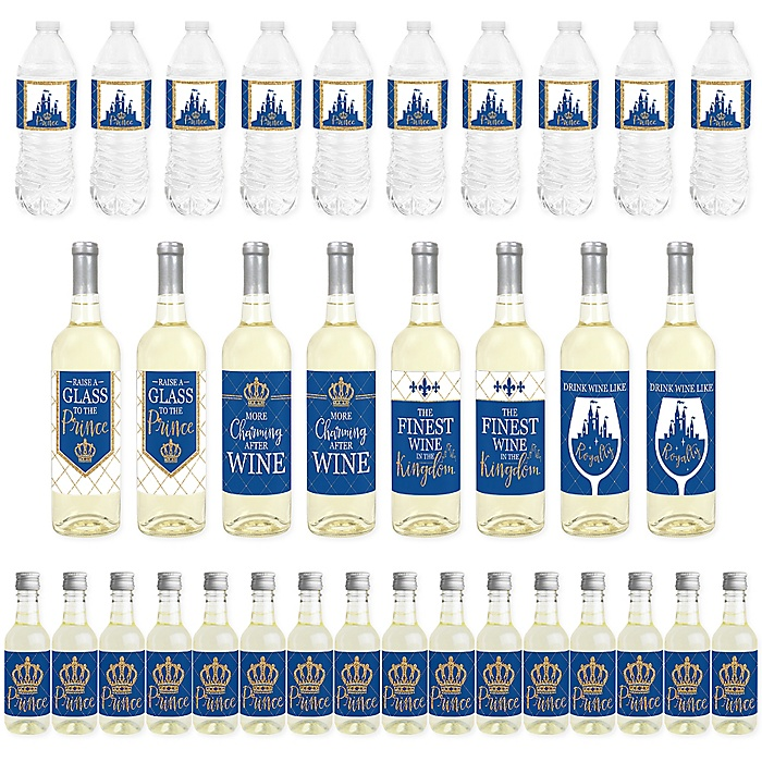Royal Prince Charming - Mini Wine Bottle Labels, Wine Bottle Labels and Water Bottle Labels - Baby Shower or Birthday Party Decorations - Beverage Bar Kit - 34 Pieces
