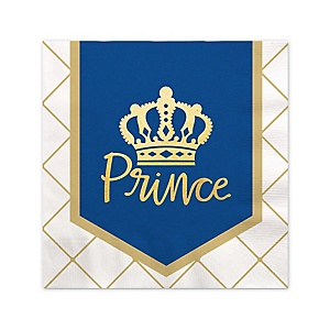 Royal Prince Charming with Gold Foil - Baby Shower or Birthday Party Cocktail Beverage Napkins - 16 ct