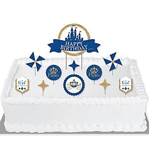 Royal Prince Charming - Birthday Party Cake Decorating Kit - Happy Birthday Cake Topper Set - 11 Pieces