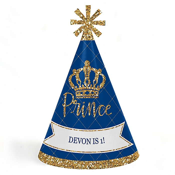 Royal Prince Charming - Personalized Cone Happy Birthday Party Hats for Kids and Adults - Set of 8 (Standard Size)