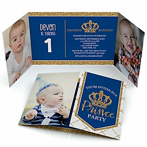 Royal Prince Charming - Personalized Birthday Party Photo Invitations - Set of 12