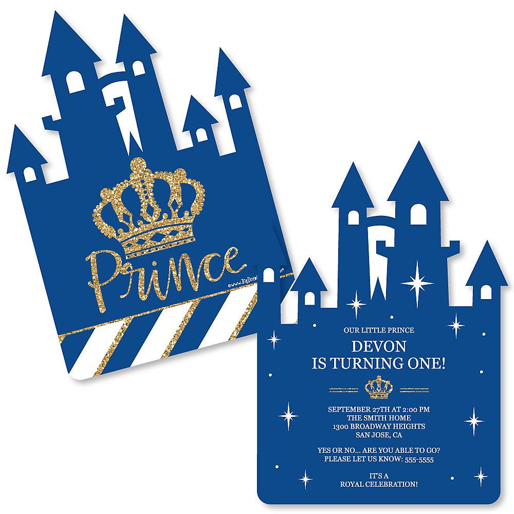 Royal Prince Charming Shaped Birthday Party Invitations Set Of 12