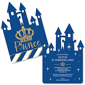 Royal Prince Charming - Shaped Birthday Party Invitations - Set of 12