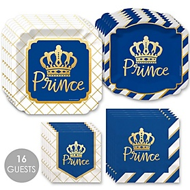 Royal Prince Charming with Gold Foil - Baby Shower or Birthday Party Tableware Plates and Napkins - Bundle for 16