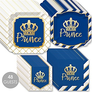 Royal Prince Charming with Gold Foil - Baby Shower or Birthday Party Tableware Plates and Napkins - Bundle for 48
