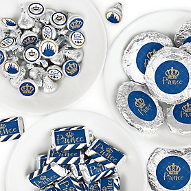 Royal Prince Charming - Mini Candy Bar Wrappers, Round Candy Stickers and Circle Stickers - Baby Shower or Birthday Party Candy Favor Sticker Kit - 304 Pieces