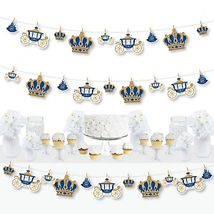 Royal Prince Charming - Baby Shower or Birthday Party DIY Decorations - Clothespin Garland Banner - 44 Pieces