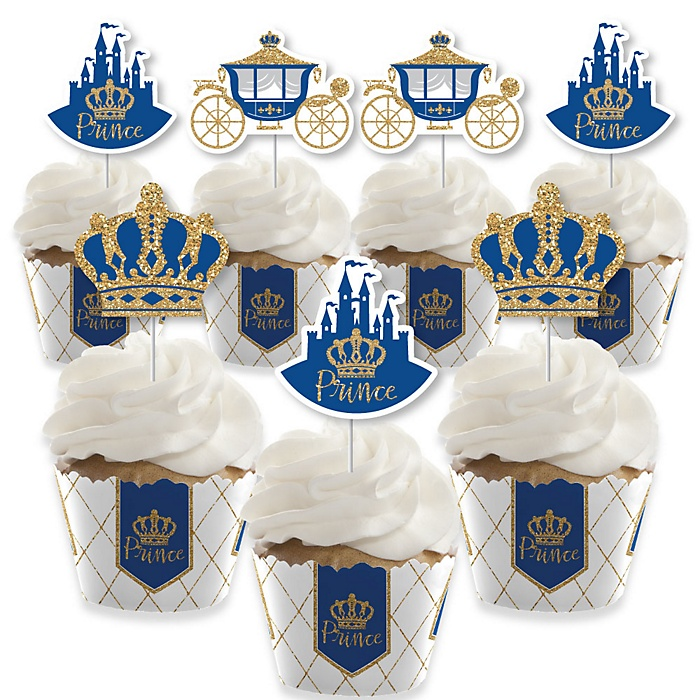 Royal Prince Charming - Cupcake Decorations - Baby Shower or Birthday Party Cupcake Wrappers and Treat Picks Kit - Set of 24