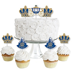 Royal Prince Charming - Dessert Cupcake Toppers - Baby Shower or Birthday Party Clear Treat Picks - Set of 24
