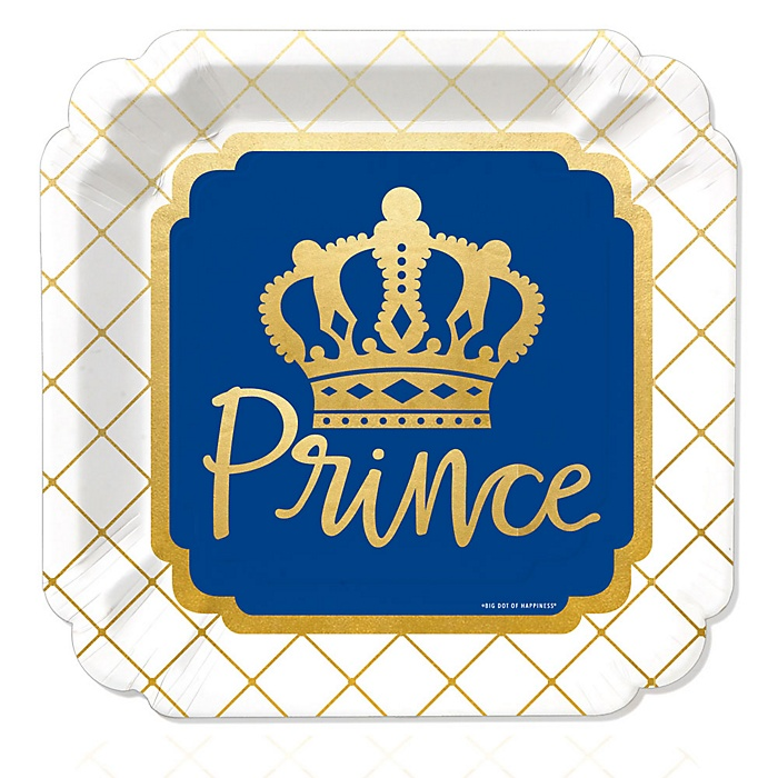 Royal Prince Charming with Gold Foil - Baby Shower or Birthday Party Dinner Plates - 16 ct