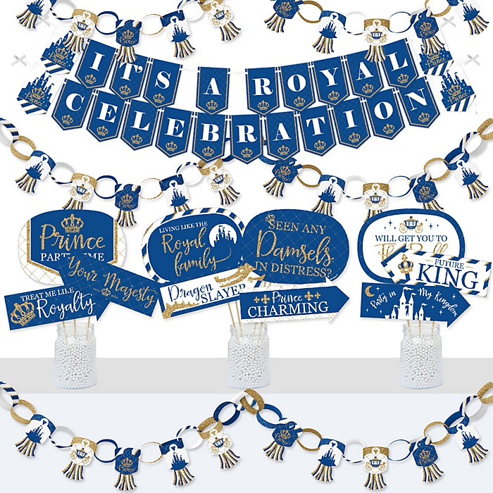 Royal Prince Charming - Banner and Photo Booth Decorations - Baby Shower or Birthday Party Supplies Kit - Doterrific Bundle