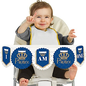 Royal Prince Charming 1st Birthday - I am One - First Birthday High Chair Birthday Banner
