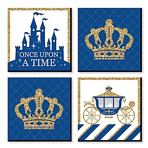 Royal Prince Charming - Kids Room, Nursery Decor and Home Decor - 11 x 11 inches Nursery Wall Art - Set of 4 Prints for Baby's Room