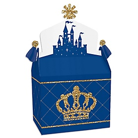 Royal Prince Charming - Treat Box Party Favors - Baby Shower or Birthday Party Goodie Gable Boxes - Set of 12