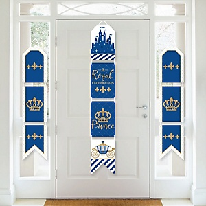 Royal Prince Charming - Hanging Vertical Paper Door Banners - Baby Shower or Birthday Party Wall Decoration Kit - Indoor Door Decor