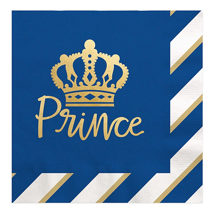 Royal Prince Charming with Gold Foil - Baby Shower or Birthday Party Luncheon Napkins - 16 ct