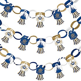 Royal Prince Charming - 90 Chain Links and 30 Paper Tassels Decoration Kit - Baby Shower or Birthday Party Paper Chains Garland - 21 feet