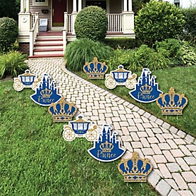 Royal Prince Charming - Crown, Castle & Carriage Lawn Decorations - Outdoor  Prince Baby Shower or Birthday Party Yard Decorations - 10 Piece
