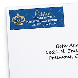 Royal Prince Charming - Personalized Baby Shower or Birthday Party Return Address Labels - 30 ct