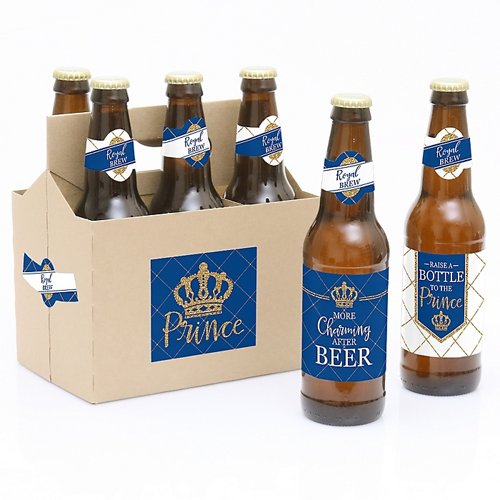 Royal Prince Charming - Decorations for Women and Men - 6 Baby Shower or Birthday Party Beer Bottle Label Stickers and 1 Carrier