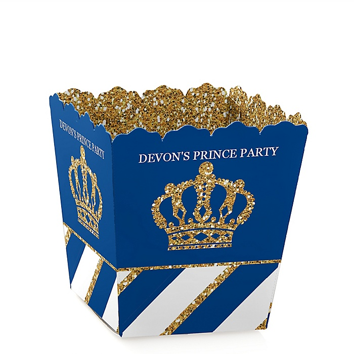 Royal Prince Charming - Party Mini Favor Boxes - Personalized Baby Shower or Birthday Party Treat Candy Boxes - Set of 12