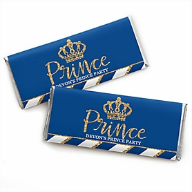 Royal Prince Charming - Personalized Candy Bar Wrapper Baby Shower or Birthday Party Favors - Set of 24