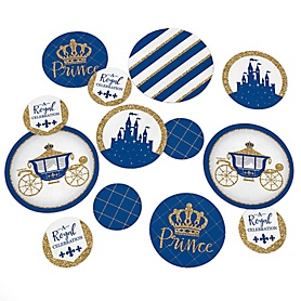 Royal Prince Charming - Baby Shower Giant Circle Confetti - Birthday Party Decorations - Large Confetti 27 Count