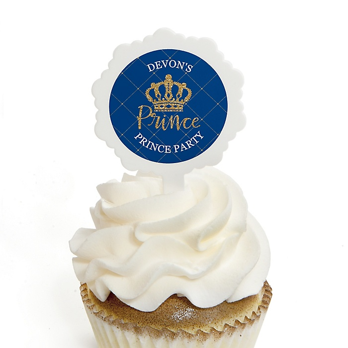 Royal Prince Charming - Cupcake Picks with Personalized Stickers - Baby Shower or Birthday Party Cupcake Toppers - 12 ct