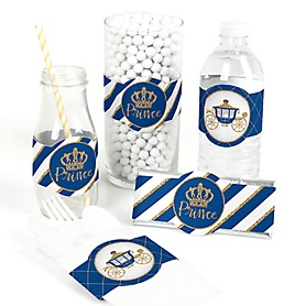 Royal Prince Charming - DIY Party Supplies - Baby Shower or Birthday Party DIY Wrapper Favors & Decorations - Set of 15