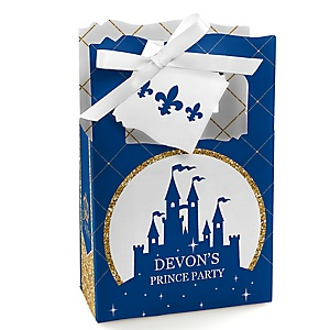Royal Prince Charming - Personalized Baby Shower or Birthday Party Favor Boxes - Set of 12