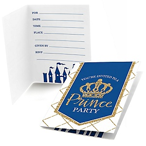 Royal Prince Charming - Fill In Baby Shower or Birthday Party Invitations - 8 ct