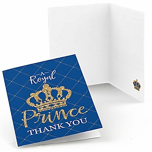 Royal Prince Charming - Baby Shower or Birthday Party Thank You Cards - 8 ct
