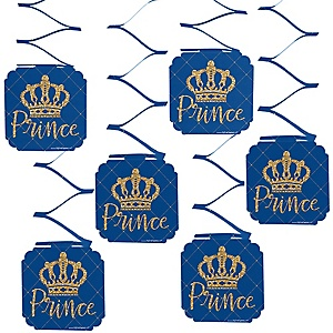 Royal Prince Charming - Baby Shower or Birthday Party Hanging Decorations - 6 ct