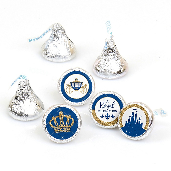 Royal Prince Charming - Baby Shower or Birthday Party Round Candy Sticker Favors - Labels Fit Hershey's Kisses  - 108 ct